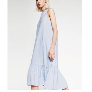 Zara Chambray Ruffle Hem Tank Dress Blue -Small